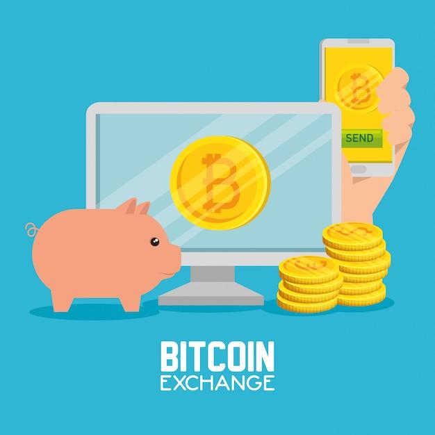 Ordinateur, smartphone, monnaie bitcoin, échange, cochon Vecteur gratuit