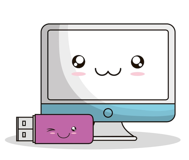 Ordinateur Usb Kawaii Dessin Anime Souriant Icone De La Technologie