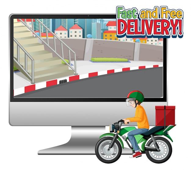 Ordinateur Avec Vélo Homme Ou Courrier Et Logo De Livraison Rapide Et Gratuite Vecteur gratuit