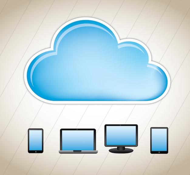 Ordinateurs en nuage Vecteur Premium