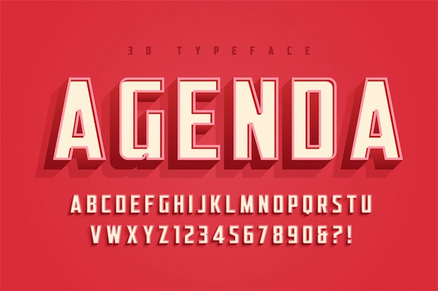 Ordre du jour conception de polices, alphabet, police de caractères, lettres et chiffres Vecteur Premium