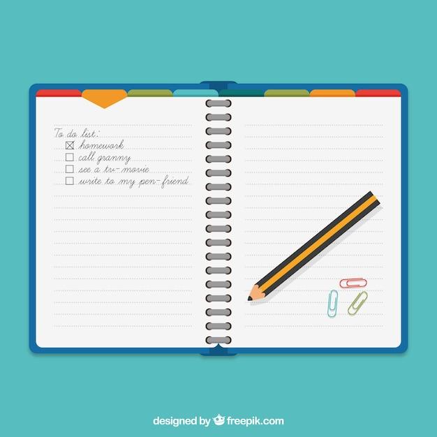 Ordre du jour et un crayon Vecteur gratuit