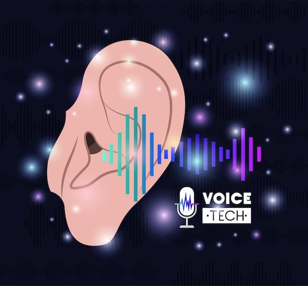 Oreille humaine avec technologie de reconnaissance vocale Vecteur Premium