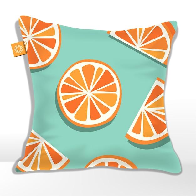Oreiller Ou Coussin à Motif Orange, Pamplemousse, Mandarine Ou Clémentine Imprimé Vecteur Premium