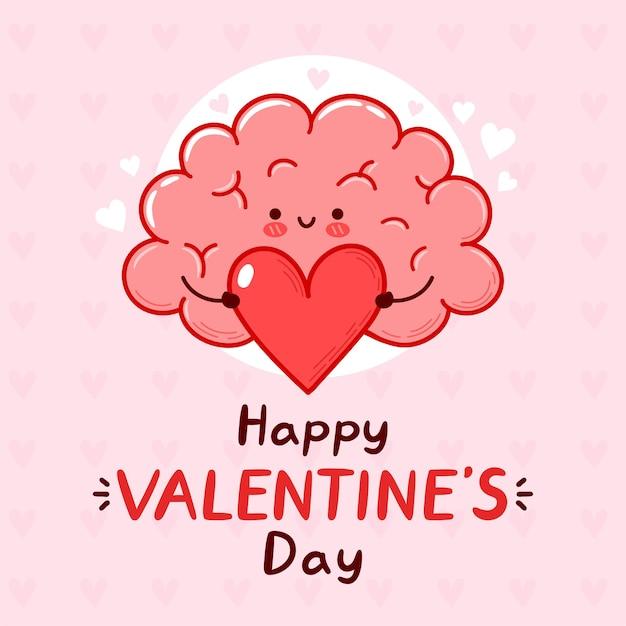 Organe Cérébral Drôle Mignon Tenant Le Coeur. Bonne Carte De Saint Valentin. Vecteur Premium