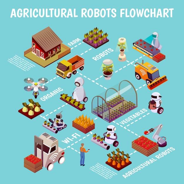 Organigramme De Ferme D'élevage Robotisé Vecteur gratuit