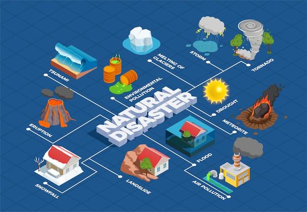 Organigramme Isométrique Des Catastrophes Naturelles Vecteur gratuit