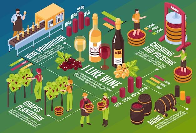 Organigramme Isométrique De La Cave à Vin étapes De Production Du Vignoble Jusqu'au Vieillissement Du Vin Sur L'illustration Horizontale Verte Vecteur gratuit