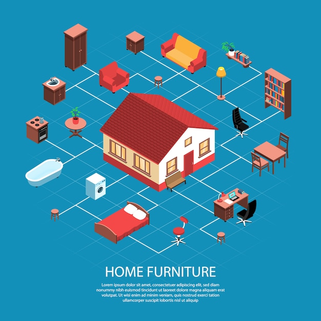 Organigramme Isométrique D'objets D'intérieur De Maison Avec La Construction De Maison Meubles Sanitaires Machine à Laver Poêle Lampadaire Vecteur gratuit