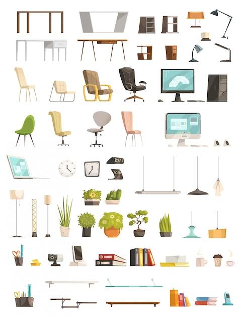 Organisateurs de mobilier de bureau modernes et accessoires Vecteur gratuit