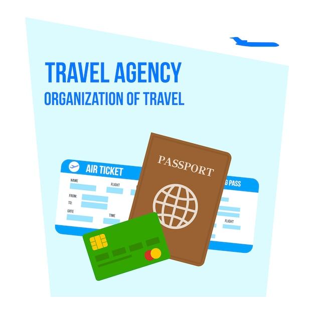 Organisation du voyage lettrage plat illustration Vecteur Premium