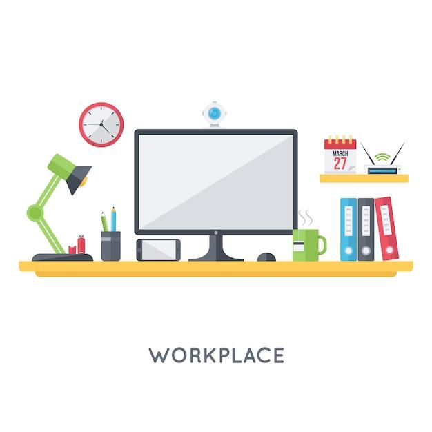 Organisation de l'espace de travail personnel Vecteur gratuit