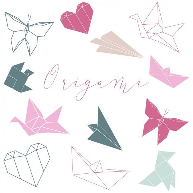 Origami façonne collection Vecteur gratuit