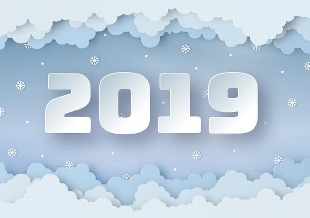 Origami fait bonne année 2019 de l'hiver Vecteur Premium