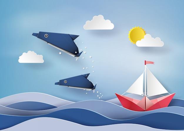 Origami Fait Dauphin Et Bateau A Voile Flotter Sur Mer Vecteur Premium