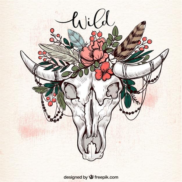 Origine ethnique avec le crâne et la décoration florale Vecteur gratuit