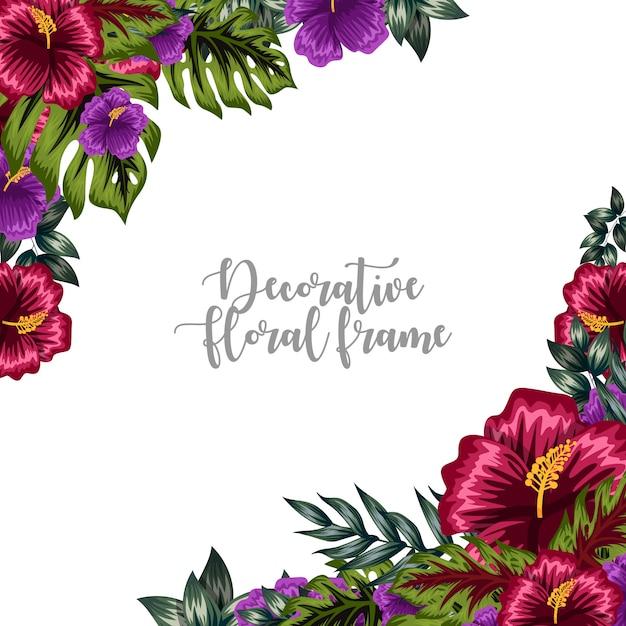 Ornement décoratif cadre floral coloré Vecteur Premium