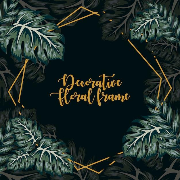 Ornement décoratif cadre floral tropical Vecteur Premium
