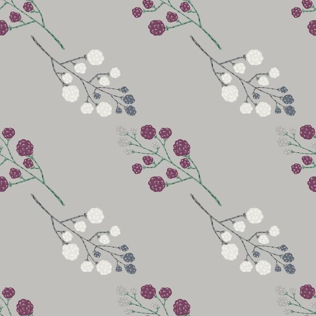 Ornement De Doodle Blackberry Avec Motif Sans Soudure De Baies Blanches Et Violettes. Vecteur Premium