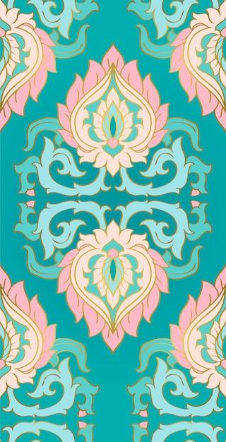 Ornement élégant Turquoise Pour Textile. Vecteur Premium