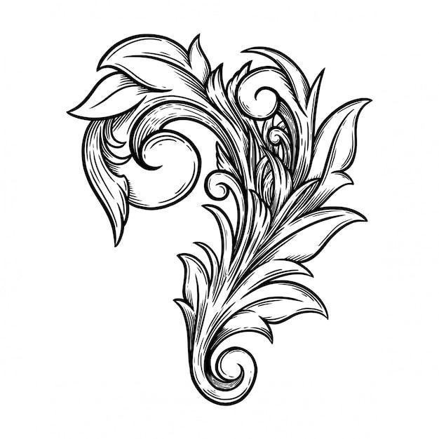 Ornement Floral Baroque Pour Cadre Et Coin De Bordure. Vecteur Premium
