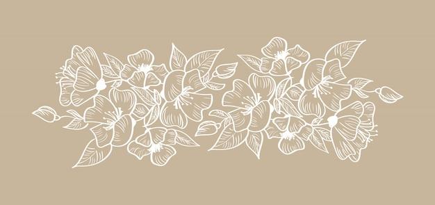 Ornement floral de printemps tropical scandinave isolé Vecteur Premium