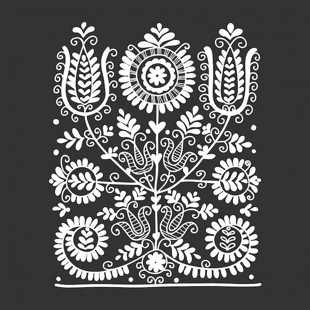 Ornement folklorique floral Vecteur Premium