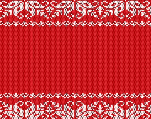 Ornement géométrique floral tricoté de noël avec un espace vide pour le texte Vecteur Premium