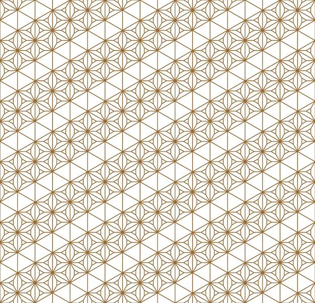 Ornement géométrique japonais traditionnel de modèle sans couture. lignes de couleur dorées. Vecteur Premium