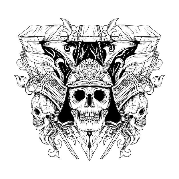 Ornement De Gravure De Crâne De Samouraï Illustration Dessinés à La Main Noir Et Blanc Vecteur Premium