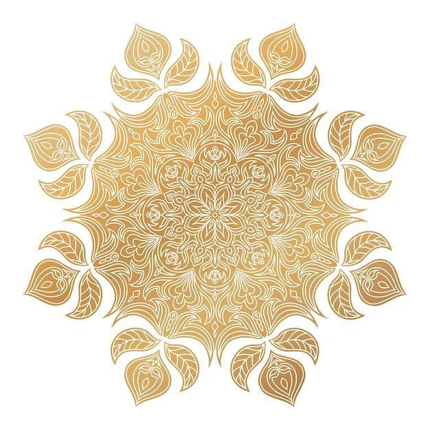Ornement De Mandala Doré De Vecteur. éléments Décoratifs Vintage. Vecteur Premium