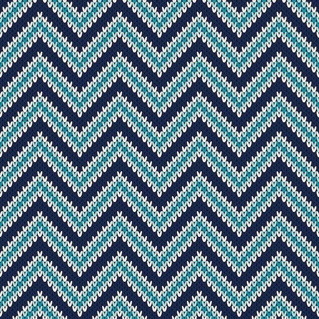 Ornement De Modèle Sans Couture Sur La Texture Tricotée En Laine Vecteur Premium