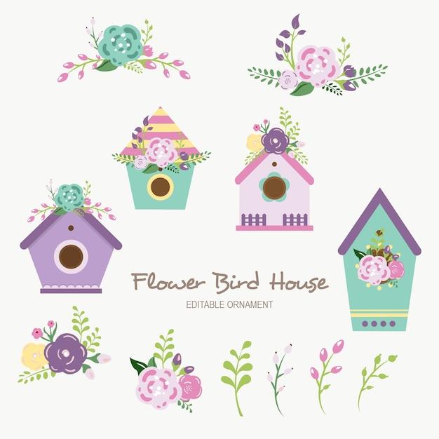 Ornement modifiable fleur d'oiseau maison Vecteur Premium