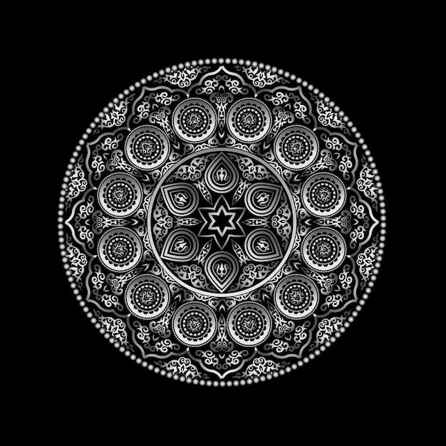 Ornement rond métallique sur fond noir - style arabe, islamique et oriental. Vecteur Premium