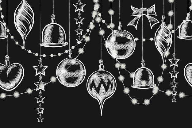 Ornement De Tableau De Noël. Boules, Guirlandes Et étoiles Sur Tableau Noir Vecteur gratuit