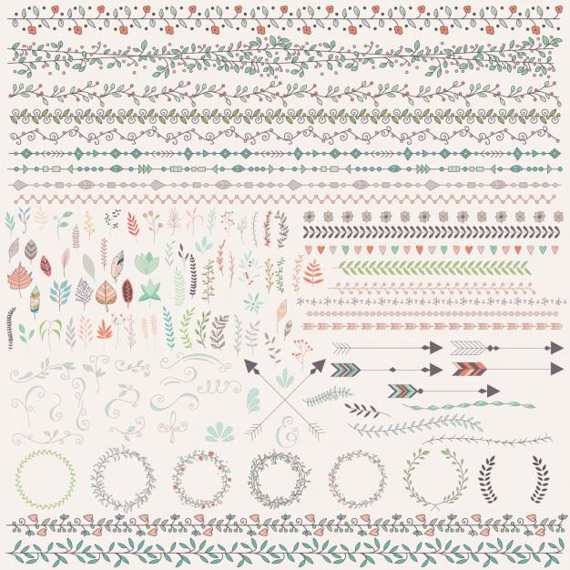 Ornements floraux colorés Vecteur gratuit