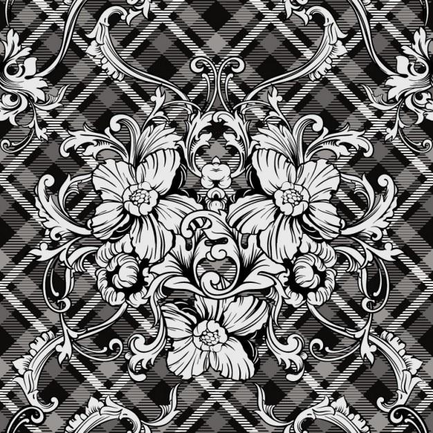 Ornements floraux monochromatiques Vecteur gratuit