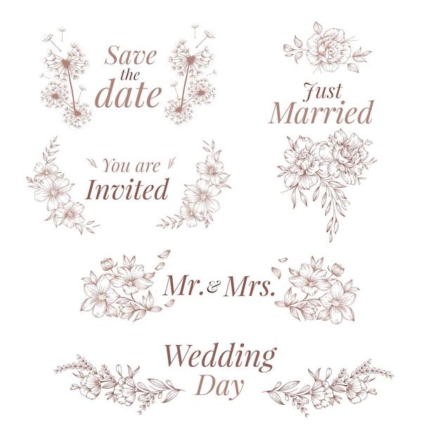 Ornements De Mariage De Style Dessinés à La Main Vecteur gratuit