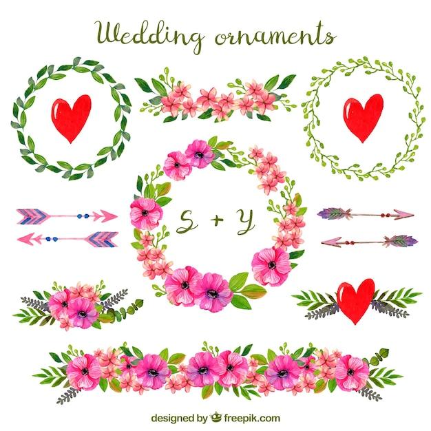 Ornements de mariage Vecteur gratuit