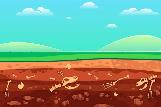 Os D'archéologie Dans Les Couches De Sol. Vecteur Premium