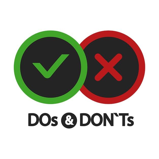 Oui Et Non, à Faire Et à Ne Pas Faire, Icônes Positives Et Négatives Isolées Sur Illustration Blanche Vecteur Premium
