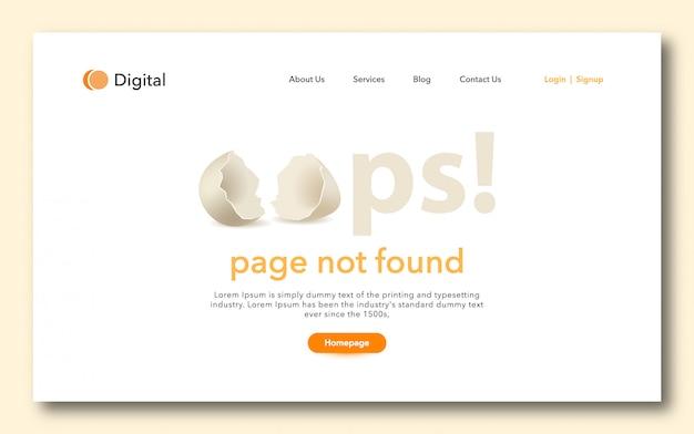 Oups page non trouvée landig page design Vecteur Premium