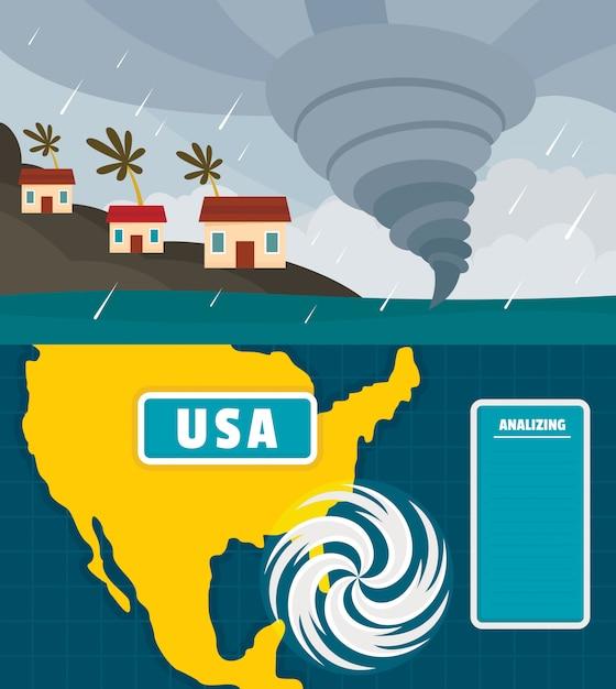 Ouragan Vecteur Premium