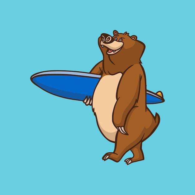 Ours Animal De Dessin Animé Portant Un Logo De Mascotte Mignon De Planche De Surf Vecteur Premium