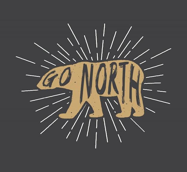 Ours arctique avec slogan Vecteur Premium