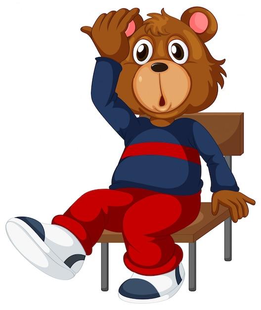 Un ours assis sur une chaise Vecteur gratuit