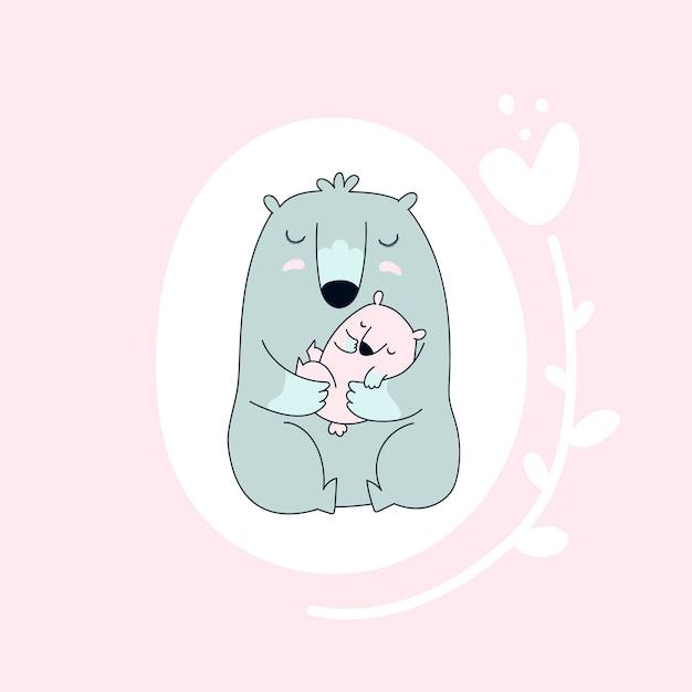 Ours avec bébé. Vecteur Premium