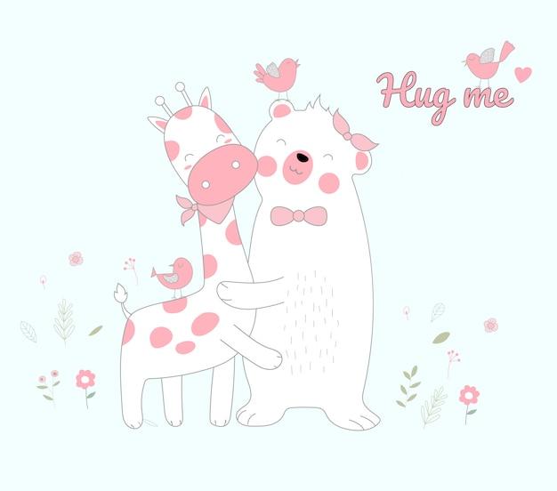 Ours blanc et bonheur de girafe de style dessinés à la main Vecteur Premium
