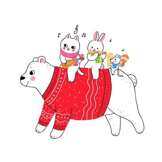 Ours blanc et chat, lapin et souris jouant de la musique Vecteur Premium