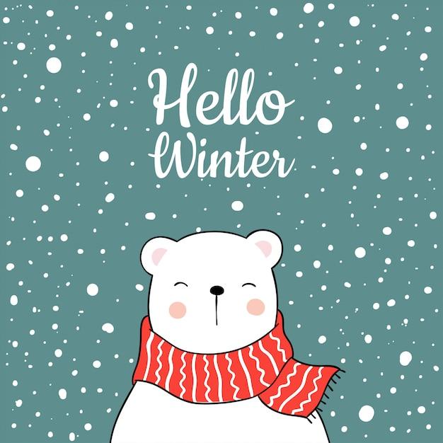 Ours blanc en hiver Vecteur Premium